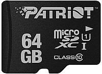 Карта памяти Patriot 64GB microSDXC C10 UHS-I LX + SD
