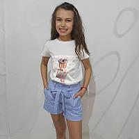 Летний костюм для девочки (шорты и футболка)