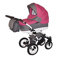 Коляска детская 2 в 1 универсальная Donatan Viano розовая с серым (ОРИГИНАЛ, розовый серый)