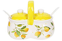 Банка для специй двойная керамическая 225мл с ложками Сочные лимоны BonaDi DM122-Y