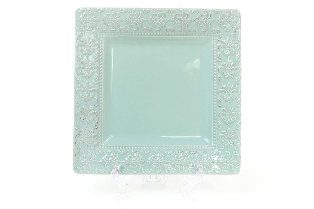 Блюдо керамическое квадратное Королевская лилия 23см, цвет - светло-зеленый BonaDi 545-230