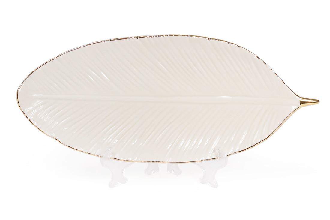 Блюдо керамическое 25см Лист, цвет - слоновой кости с золотом BonaDi 945-154