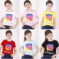 Футболка с коротким рукавом  для девочки, и с рисунком (Instagram), ПАК/ (8-14л)  4 шт.,TonToy