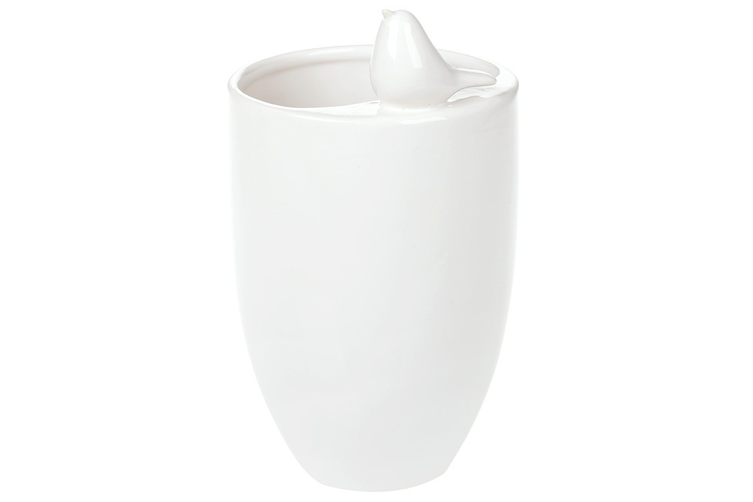 Ваза керамическая с декором Птичка, цвет - белый, 18.5см BonaDi 731-107