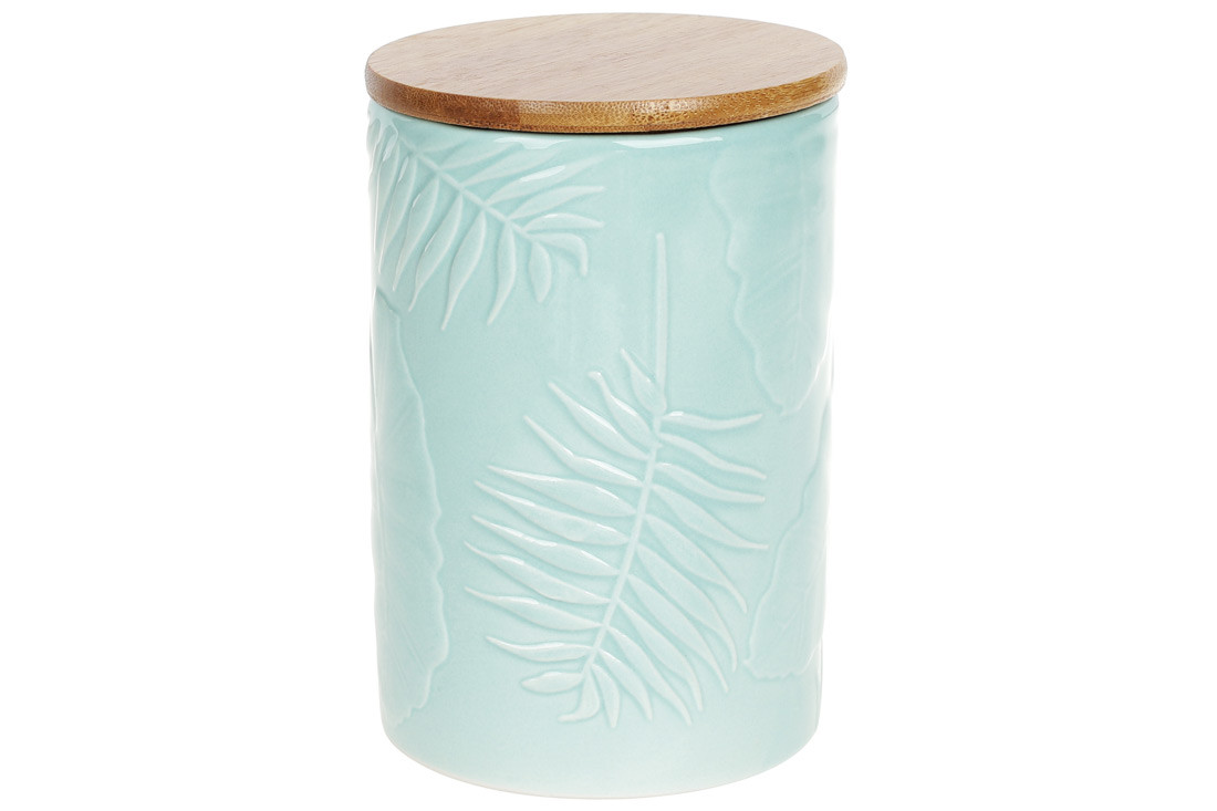 Банка керамическая 800мл с бамбуковой крышкой Тропикана,15см, цвет - лазурный голубой BonaDi 304-908