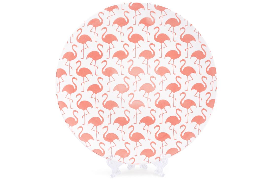 Тарелка фарфоровая 21.5см с тиснением Розовый фламинго BonaDi 945-214