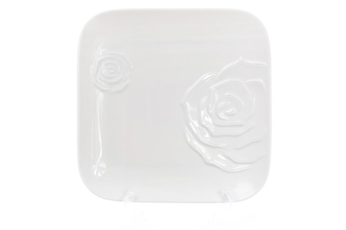 Тарелка обеденная фарфоровая квадратная 25см, цвет - белый BonaDi 558-519