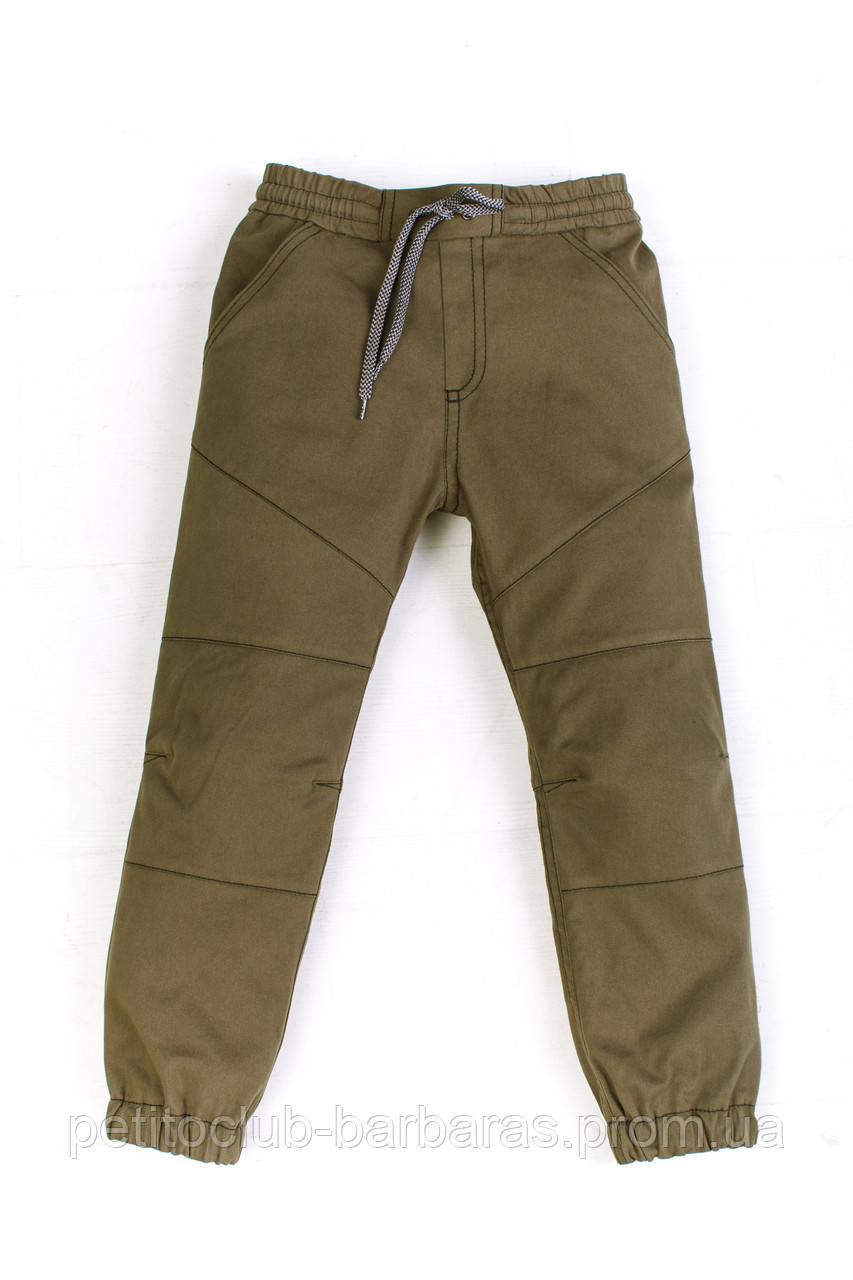 Детские летние хлопковые брюки джоггеры для мальчика хаки (р.146-164 см) (KIT-Lime, Украина)