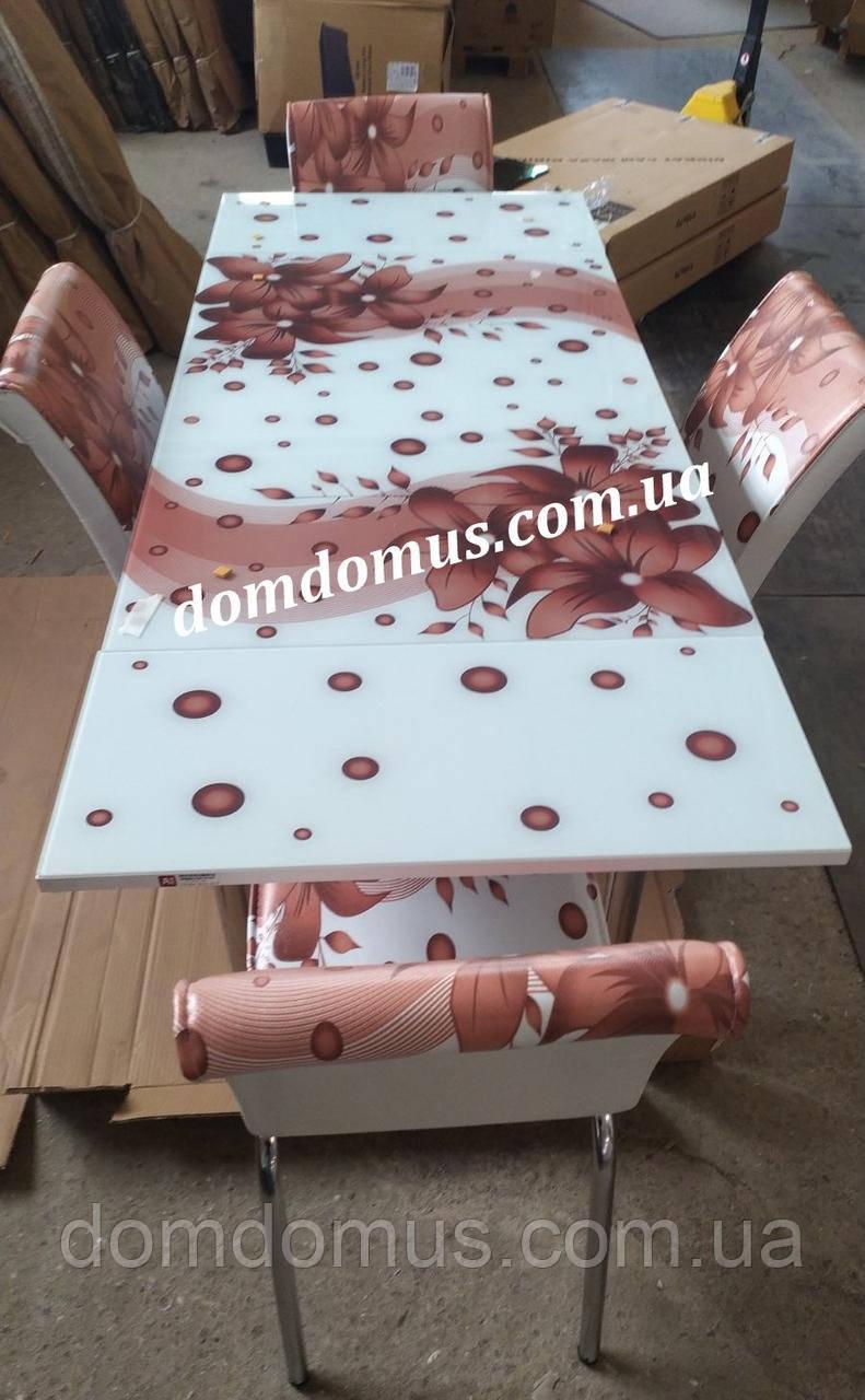 """Комплект обідній меблів """"Квітка коричневий"""" (стіл ДСП, гартоване скло + 4 стільця) Mobilgen, Туреччина"""