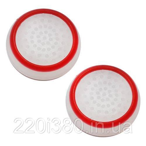 Силиконовые накладки на стики Dualshock 4 белые с красной окантовкой 2 шт. (Черкассы)