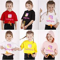Футболка с коротким рукавом  для девочки с капюшоном, на шнурке и с рисунком (Instagram), ПАК/ 6/7-13/14л)  5 шт.,TonToy