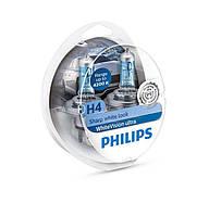 Лампа галогенная Philips H4 WhiteVision Ultra +60%, 4200K, 2шт/блистер