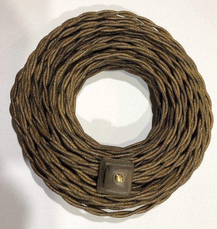 Провод витой 3Х2,5 для наружной ретро электропроводки, в хлопковой изоляции,коричневый (бронза) Artlight