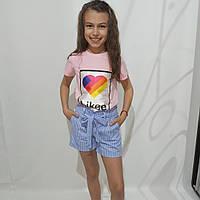 Детский летний костюм для девочки (шорты и футболка)