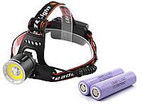 Ліхтар налобний Police 8003-T6 + COB, ЗУ 220V / 12V, Box 2 х Оригінальний акумулятор LG 18650 3400 mAh
