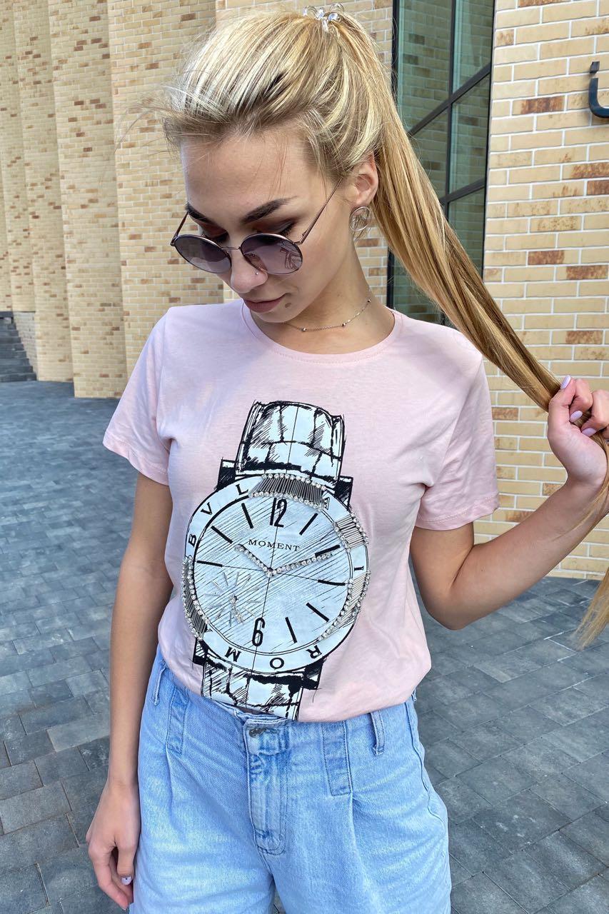 Красивая футболка женская с принтом и вышивкой камнями  LSK - пудра цвет, L (есть размеры)
