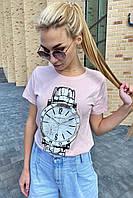 Красивая футболка женская с принтом и вышивкой камнями  LSK - пудра цвет, L (есть размеры), фото 1