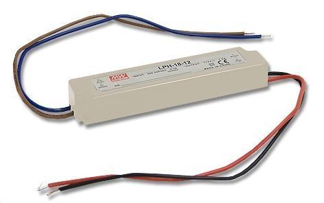 Джерело живлення LPH-18-12: (140x30x22 мм) AC / DC, IP67, 18W