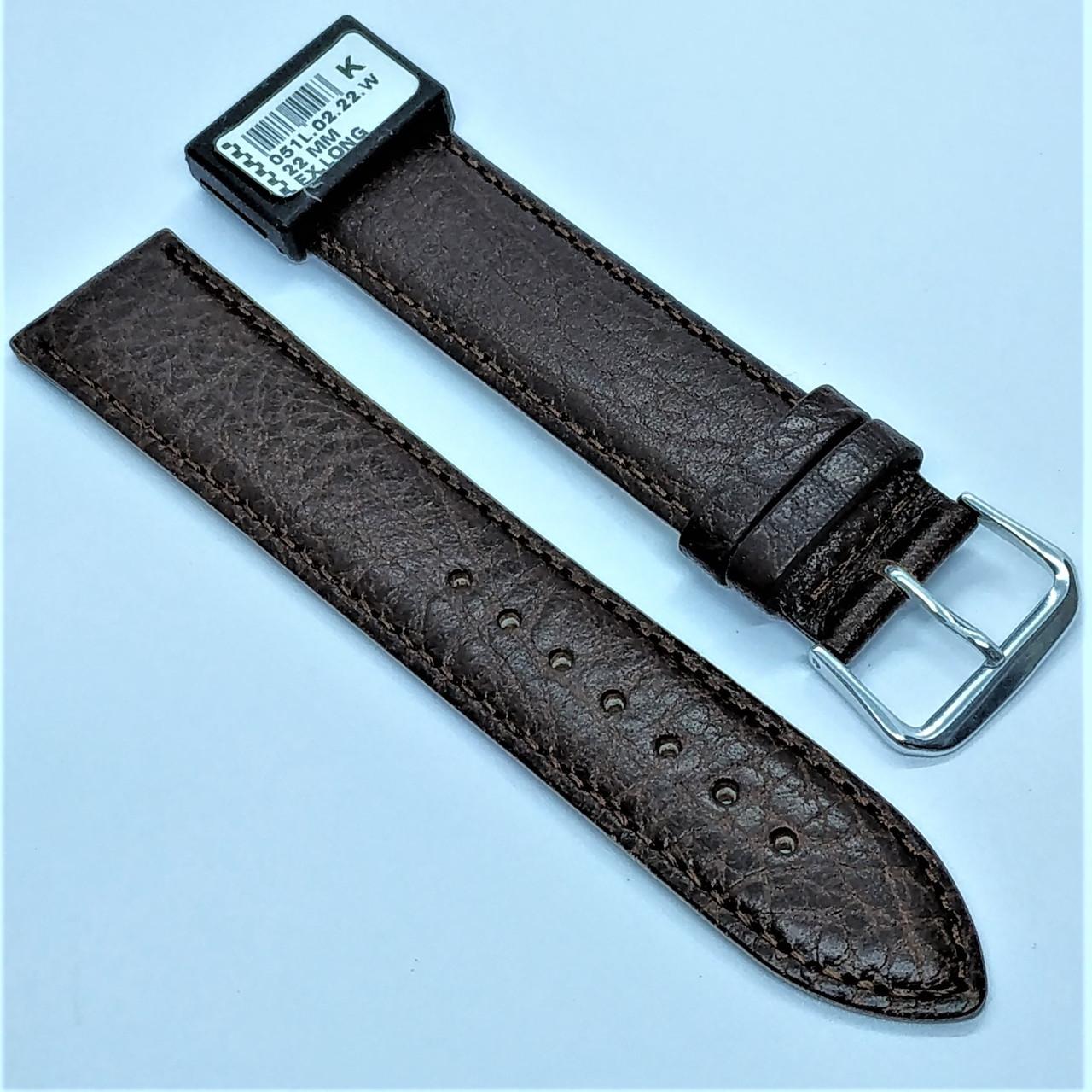 22 мм Кожаный Ремешок для часов CONDOR 051L.22.02 Коричневый Ремешок на часы из Натуральной кожи удлиненный
