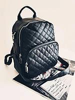 Женский черный стеганый рюкзак из кожзама