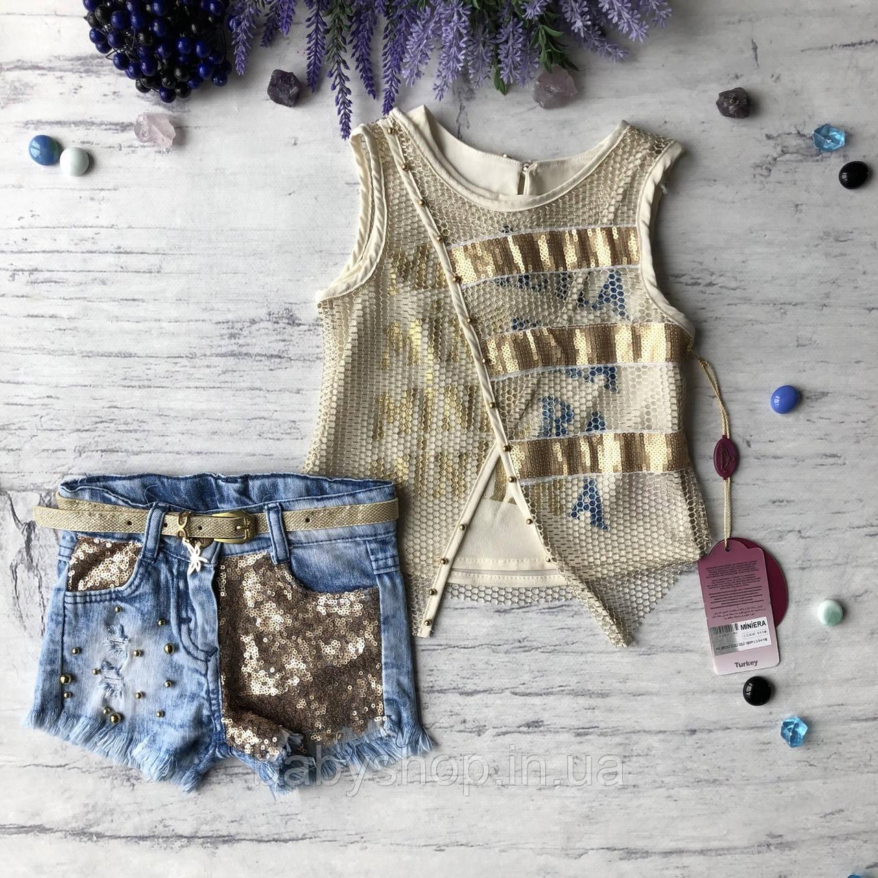 Летний джинсовый костюм на девочку 149. Размер 1 год (80 см), 2 года (92 см), 3 года (98 см