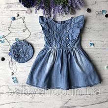 Летнее джинсовое платье на девочку 42. Размер 74 см, 80 см