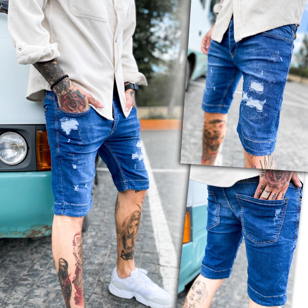 0254 Mario Vintage шорты джинсовые мужские рваные стрейчевые (29-36, 8 ед.)