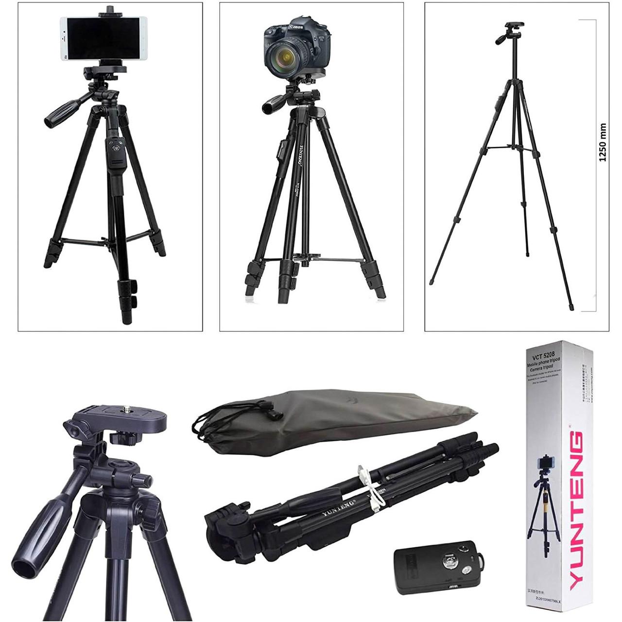 Телескопічний Штатив для камери телефону фотоапарата з Bluetooth пультом ДУ 41-125 см трипод з чохлом