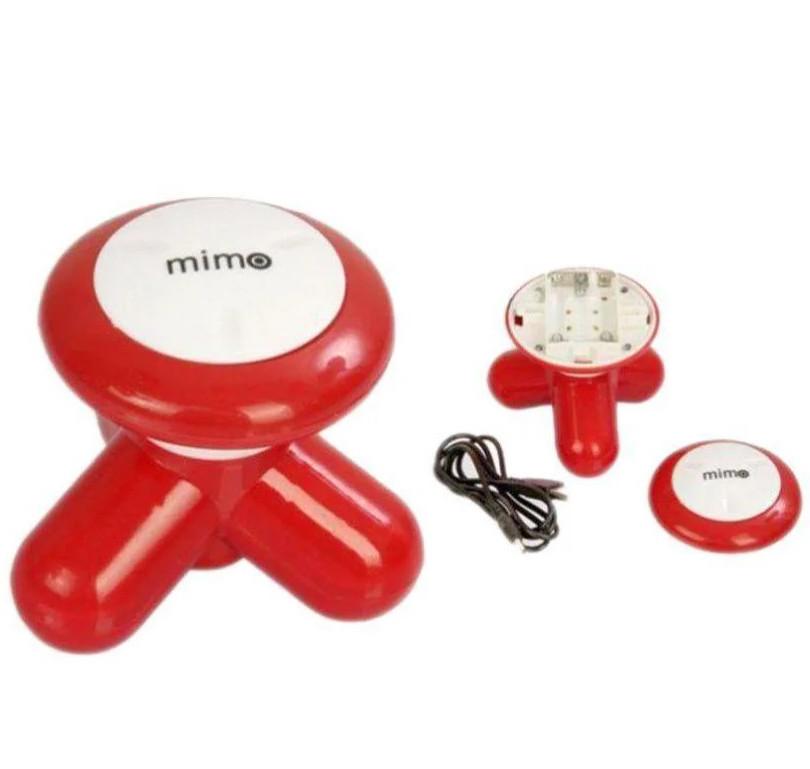 Ручний масажер міні вібромасажер універсальний 9х8 см USB або 3xAAA Mimo XY3199 червоний