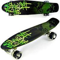 Скейт (пенни борд) Penny board со светящимися колесами АБСТРАКЦИЯ арт. 9160/99160