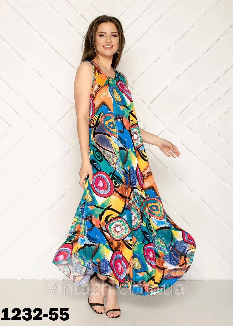 Женское летнее платье  свободного кроя размер 56 в интернет магазине