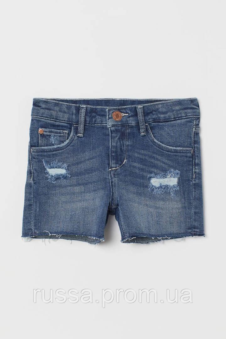 Детские джинсовые шорты с латками и рваным низом НМ для девочки