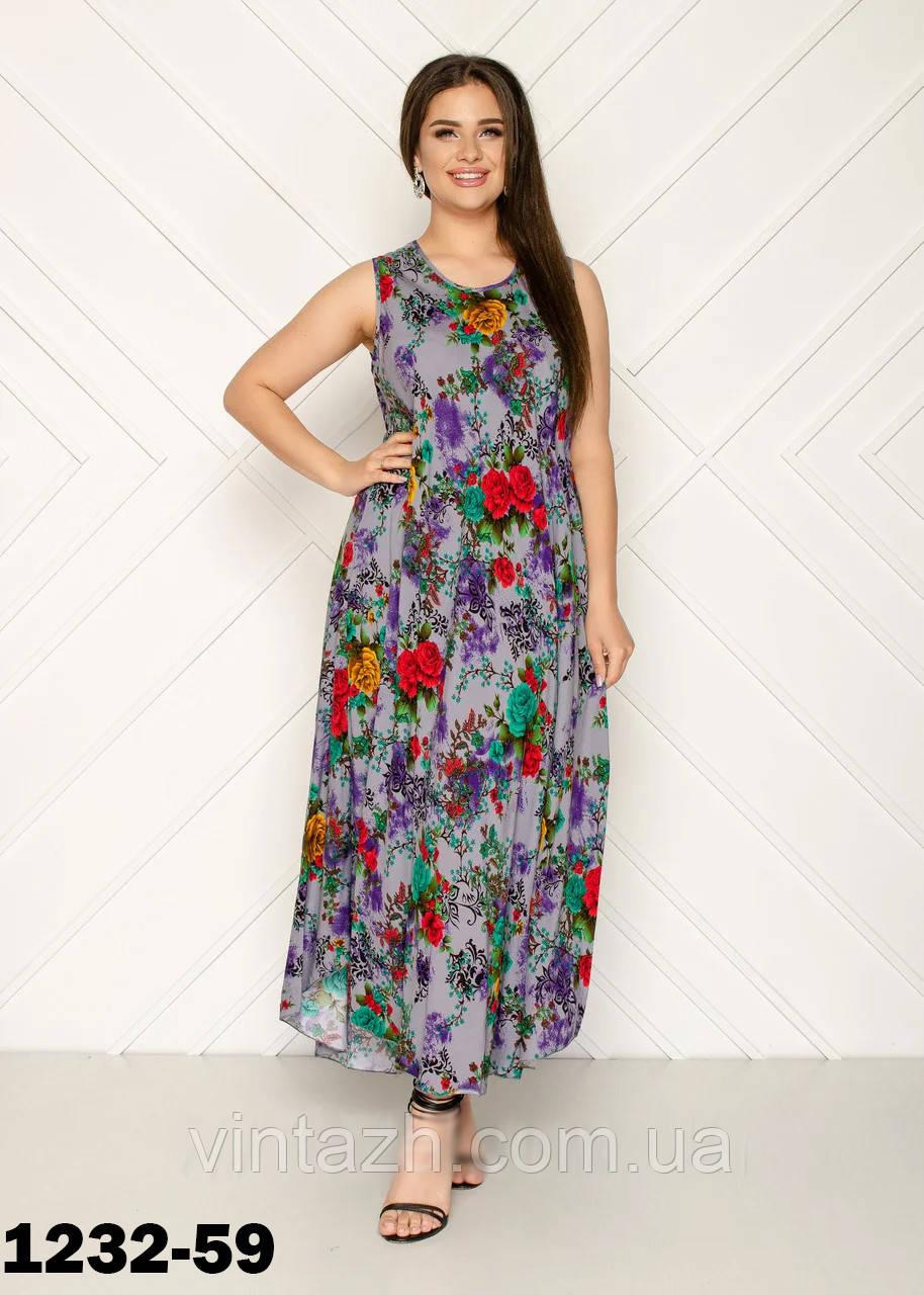 Женское летнее платье  свободного кроя удлиненное  размер 56-58 в интернет магазине