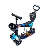 Самокат - беговел 5 в1 Best Scooter с родительской ручкой и подножками арт. 21500, фото 1