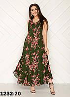 Штапельное летнее женское платье большого размера