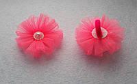 Дитячий бантик на резинці з фатину, рожевий