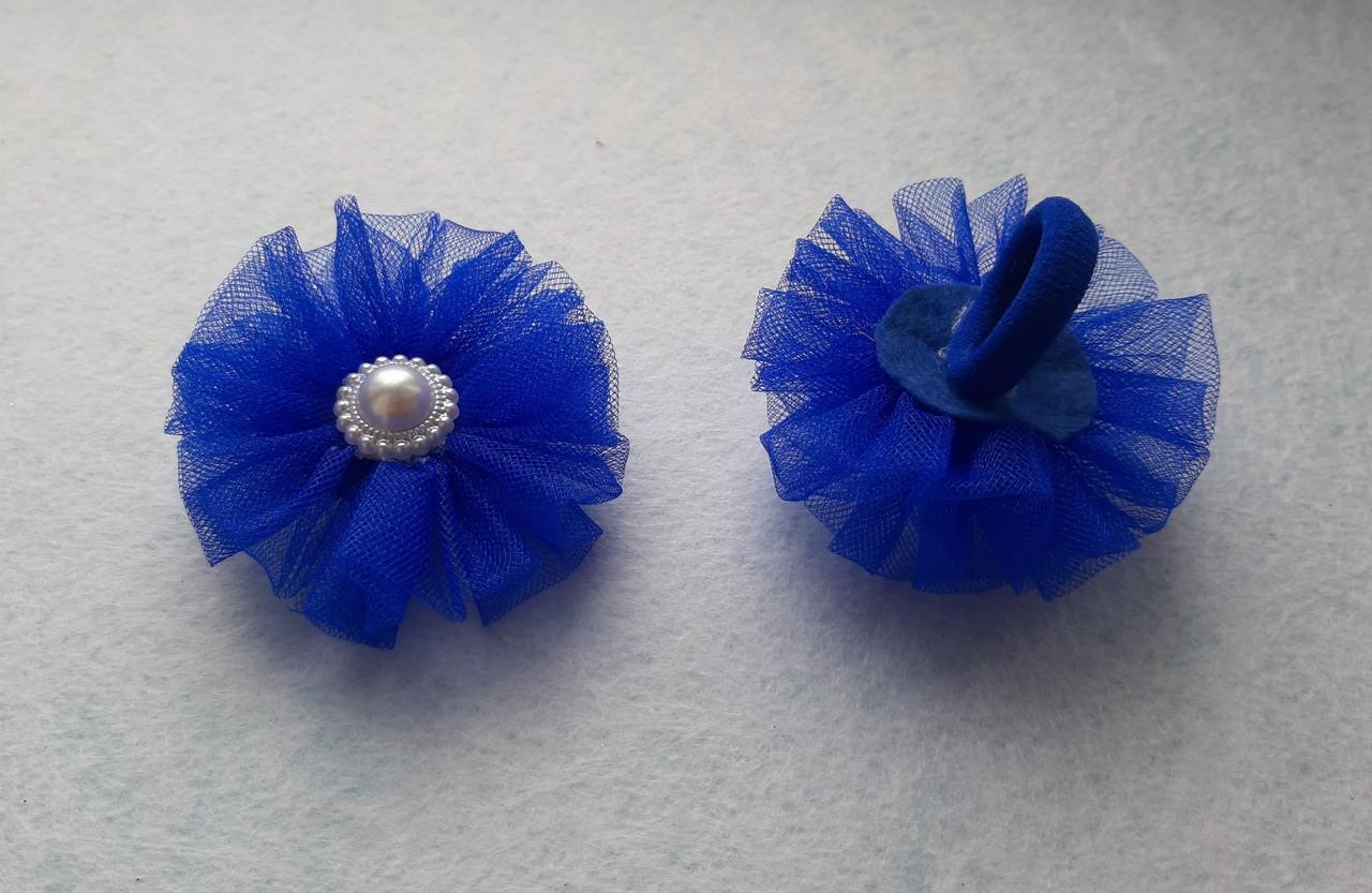 Дитячий бантик на резинці з фатину, синій