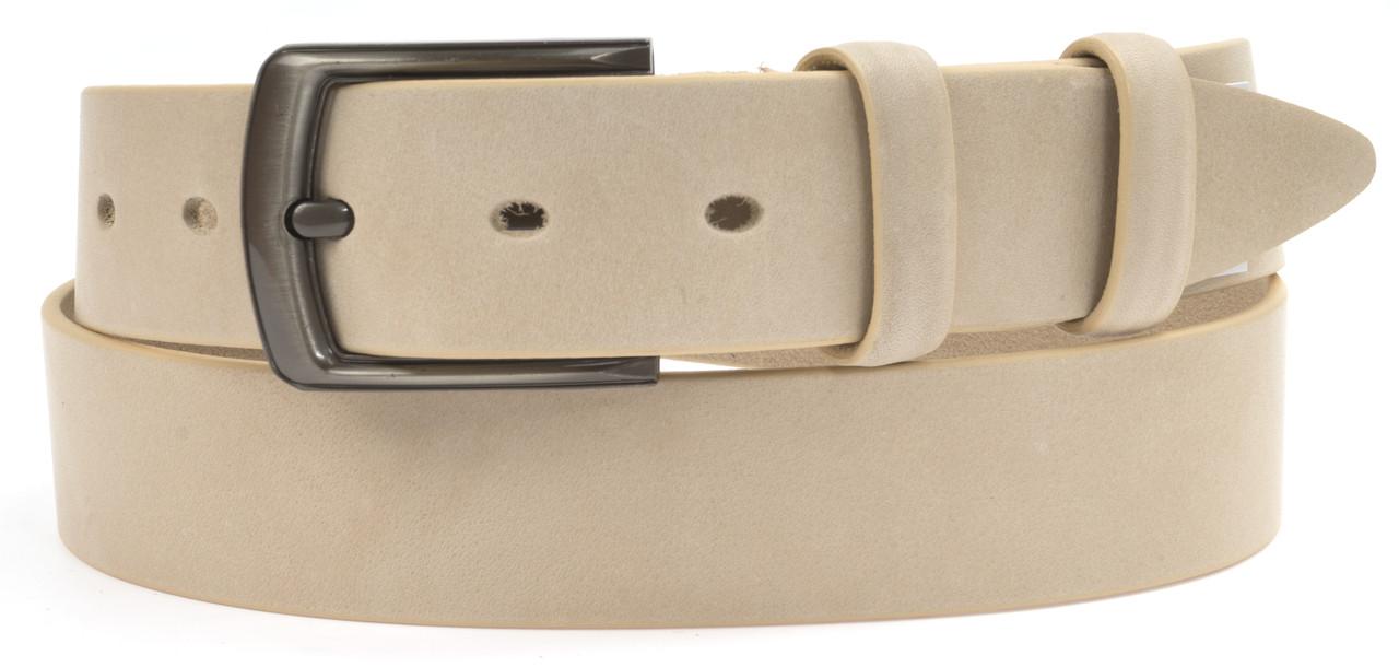 Чоловічий стильний джинсовий ремінь з натуральної щільної шкіри 4 см art. 104222 Україна