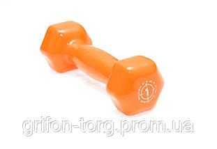 Гантели для фитнеса и аэробики обрезиненные Power System 1 kg PS-4024 Orange (1 шт), фото 2