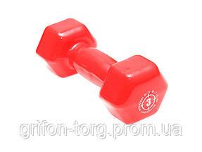 Гантели для фитнеса и аэробики обрезиненные Power System 3 kg PS-4026 (1 шт.), фото 2