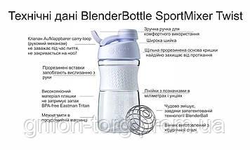 Спортивна пляшка-шейкер BlenderBottle SportMixer Twist 820ml Teal (ORIGINAL), фото 3