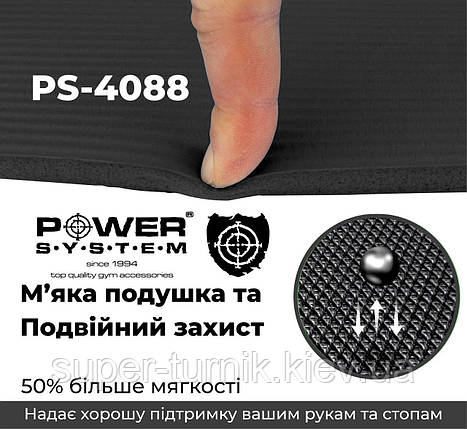 Коврик для йоги и фитнеса Power System Fitness Mat Premium PS-4088 Black, фото 2