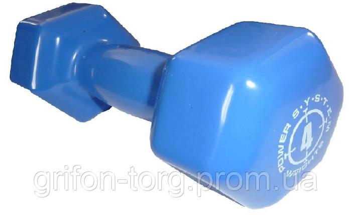 Гантели для фитнеса и аэробики обрезиненные Power System 4 kg PS-4027 (1 шт.), фото 2