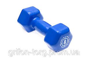 Гантели для фитнеса и аэробики обрезиненные Power System 4 kg PS-4027 (1 шт.), фото 3