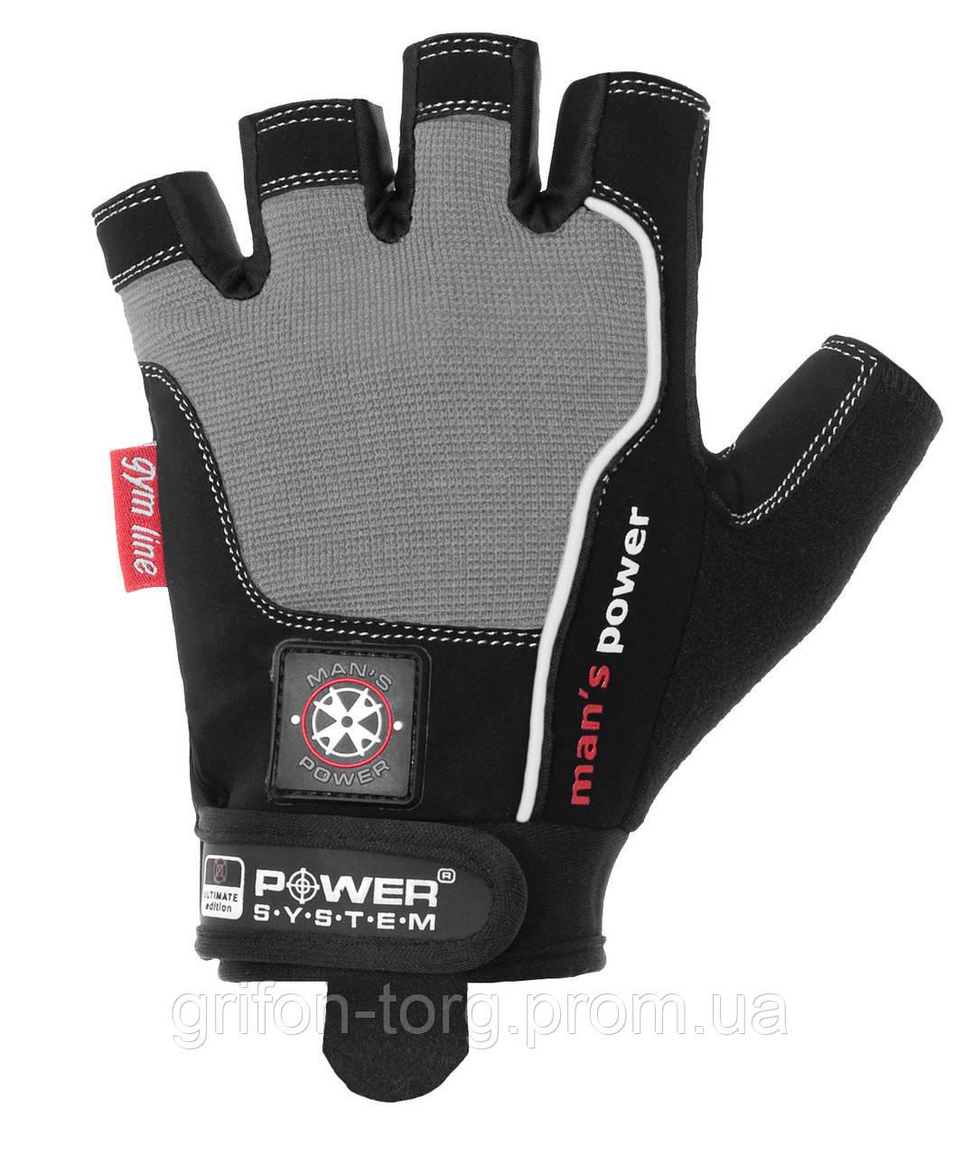 Перчатки для фитнеса и тяжелой атлетики Power System Man's Power PS-2580 XXL Black/Grey