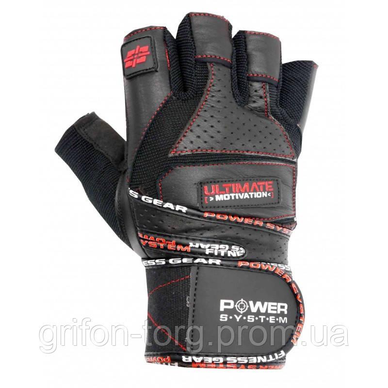 Перчатки для тяжелой атлетики Power System Ultimate Motivation PS-2810 M Black/Red