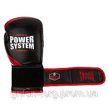 Перчатки для бокса PowerSystem PS 5005 Challenger 14oz Black/Red, фото 3
