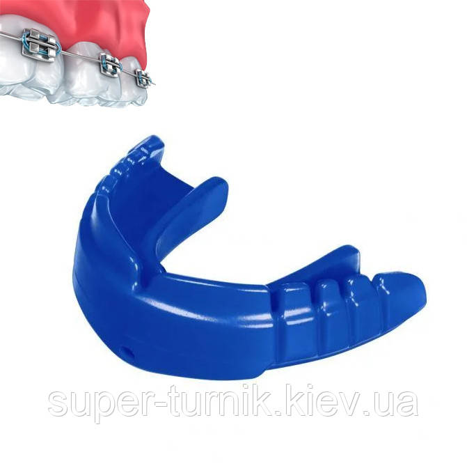 Капа OPRO Snap-Fit FOR BRACES Electric Blue+Strap (art.002318003)