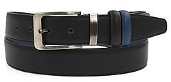 Мужской классический двухсторонний ремень из качественного заменителя кожи 3.5 см (104255) черный/синий