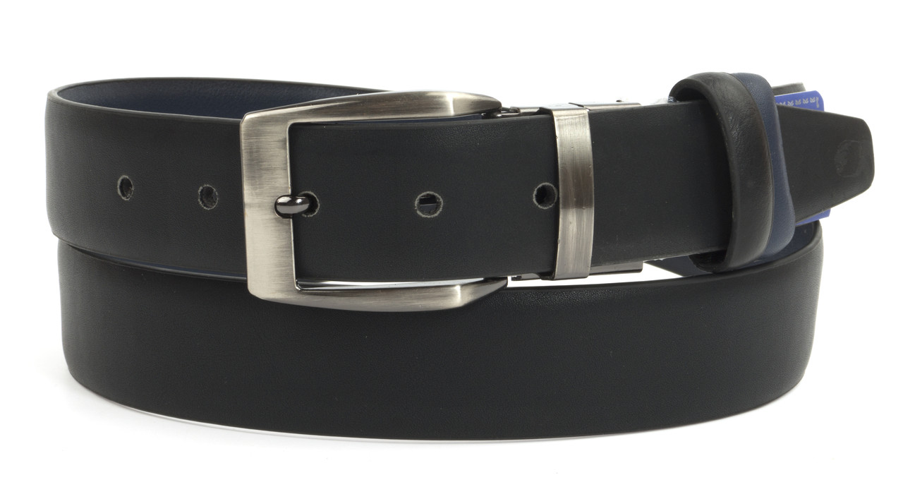 Чоловічий класичний двосторонній ремінь з якісного замінника шкіри 3.5 см (104256) чорний/синій